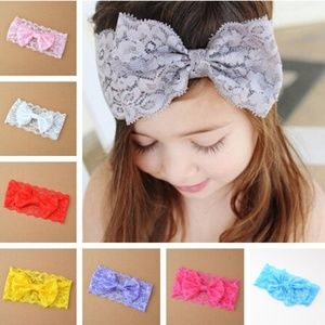 Other - 1 Piece bowknot baby lace Headband Red